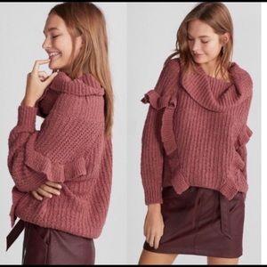 Express oversize ruffle cowl neck sweater